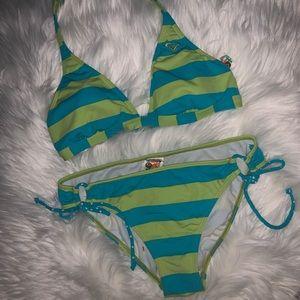 Roxy Stripped 2 piece Bikini size L